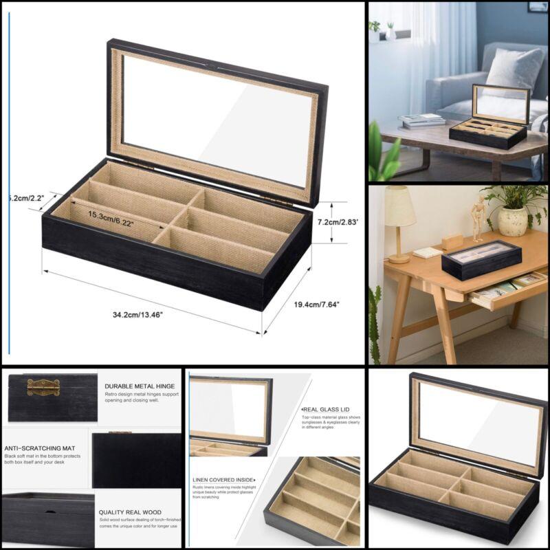 SRIWATANA Sunglasses Organizer Box, 6 Slot Eyeglasses Display Case Storage For