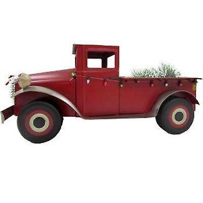 LARGE RED TRUCK WITH TREE CHRISTMAS FIGURINE - WONDERSHOP