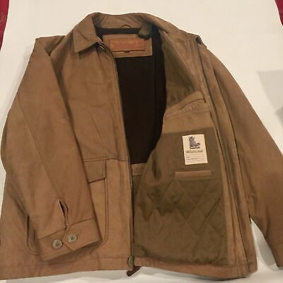 Timberland Leathergear Cowhide Leather Jacket L Tan Brown 3/4 Length 3/4 Length Leather Jacket
