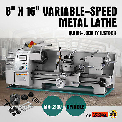 8x16 Mini Metal Lathe Variable-speed 50-2500rpm 750w Benchtop Digital Display