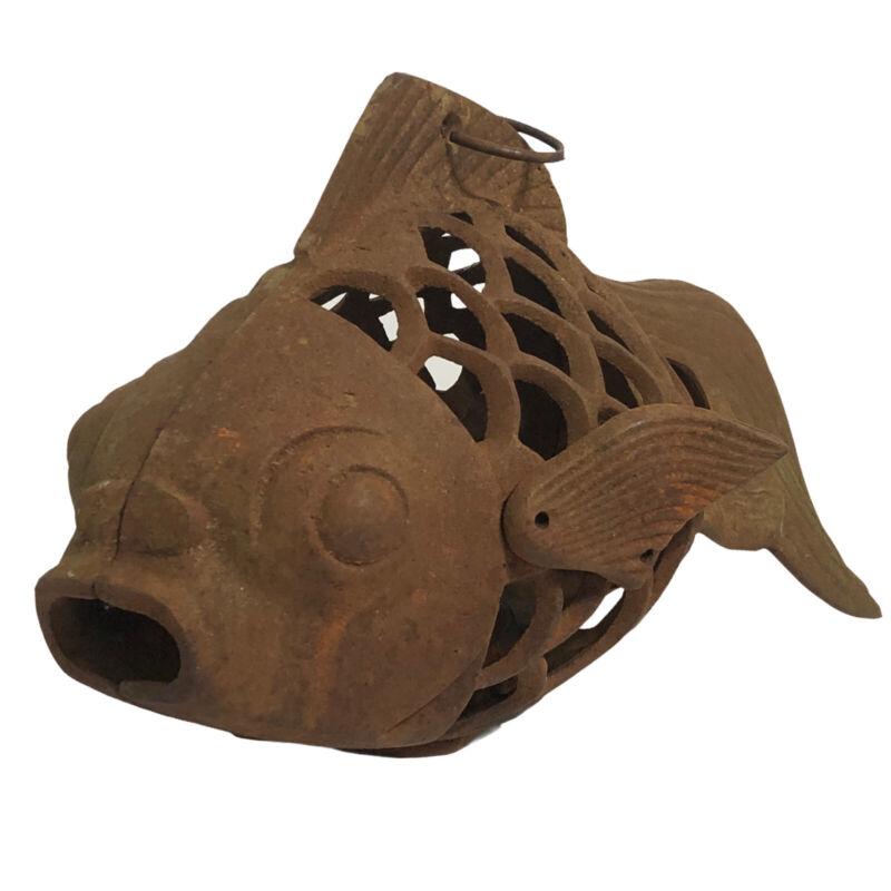 """13"""" Vintage Japanese Cast Iron KOI Fish Hanging / Standing Lantern"""