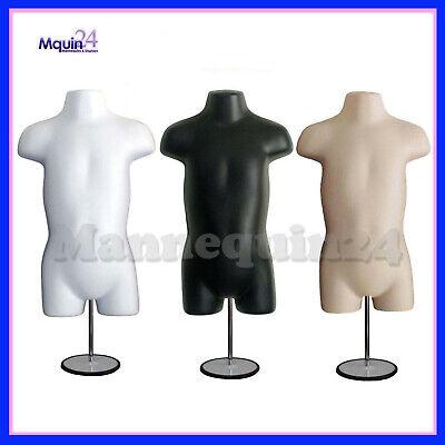 3 Mannequin Toddler Torsos Set -white Black Flesh Forms 3 Stands 3 Hangers