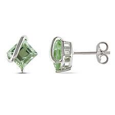 Amour Sterling Silver 2 1/4 Ct TGW Green Amethyst Stud Earrings