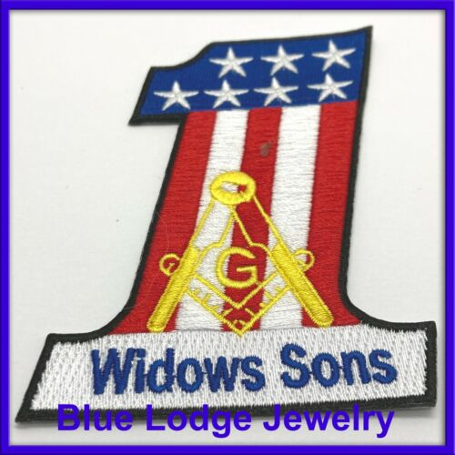 Number One Shaped Red White And Blue Widows Son Patch