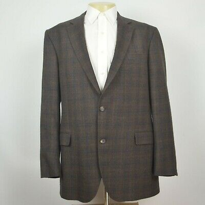 JACK VICTOR Cassini Tweed 100% Wool Brown Plaid Two Button Sport Coat Sz 46L