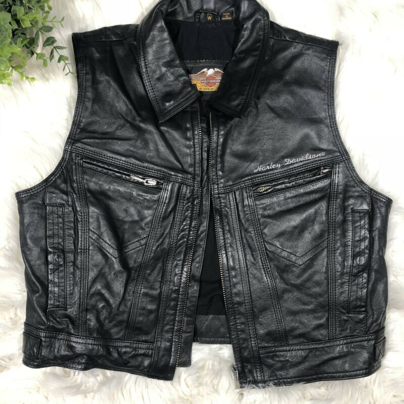 Harley Davidson Women,s  Black Leather Cropped Vest Size M