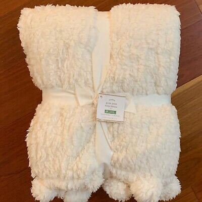 Nwt Pottery Barn ~ivory Cozy Pom Pom~ Throw Blanket 50x60 ~teddy Bear~ Sooosoft