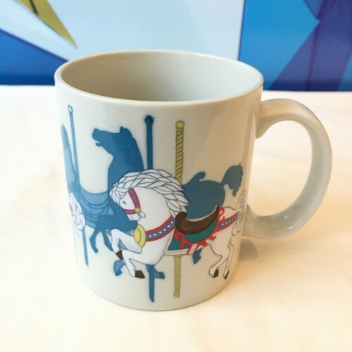 Vintage Otagiri Japan Carousel Mug Merry Go Round Horse Pastel Coffee Cup