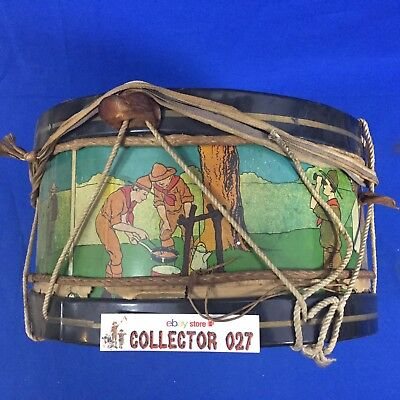 Boy Scout Toy Vintage Tin Litho Drum 10.5