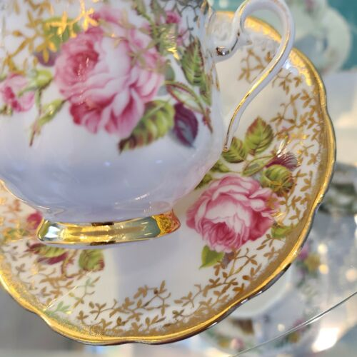 Royal Albert Teacup and Saucer Cabbage Roses Gold