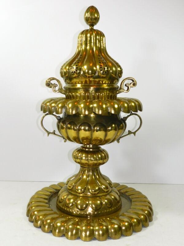 """Vintage Brass Bronze Vessel Mangal Turkish Heater Tent Warmer 28"""""""