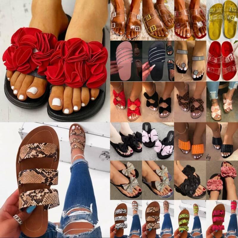 Women's Slip On Slippers Sandals Flat Footbed Comfy Slide Be