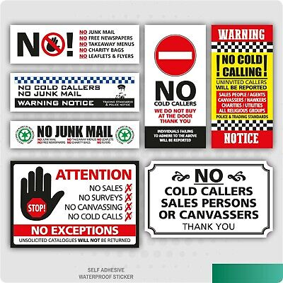 2 x No Cold Callers Canvassers Salesman Front Door Sign Sticker Various Options