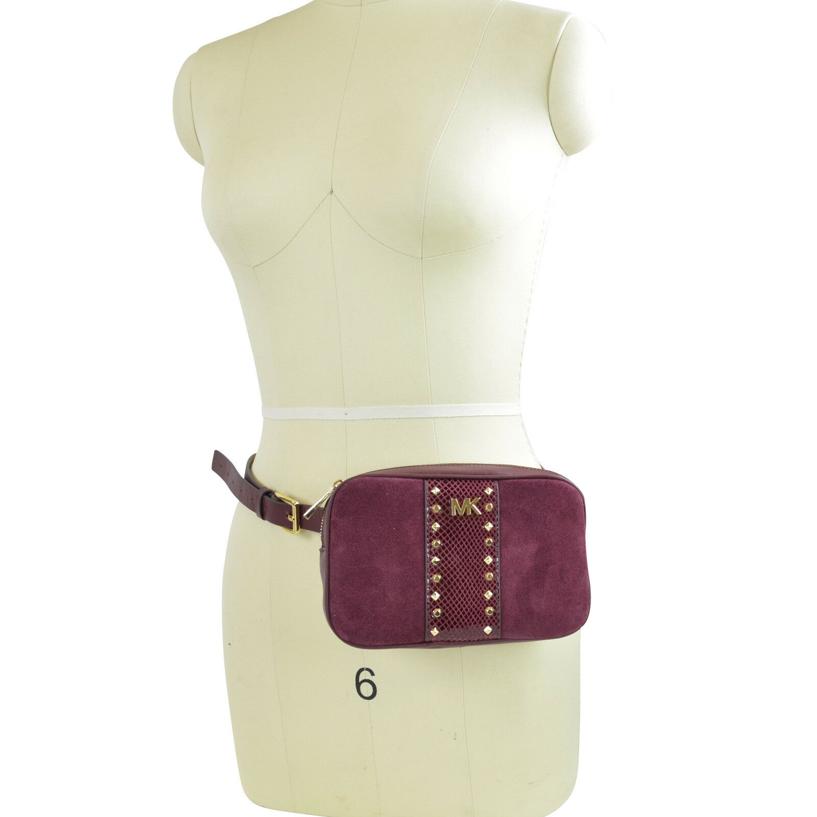 db2cf85ebbd962 Details about NWT Michael Kors Studded Fanny Pack Belt Bag in Maroon/ Gold  S/M