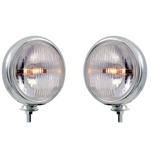 "Chrome Vintage Clear 5"" Fog Light Housing & Halogen H3 Bulb Glass Lens 12V Pair"