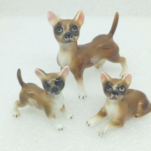 Vintage Chihuahua Mom Dog & 2 Puppies 3 piece Set Bisque Porcelain