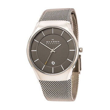 Skagen SKW6140 Gent's Dark Grey Dial Titanium Mesh Bracelet Watch
