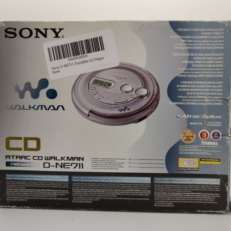 Sony Portable CD Player - CD Walkman - Silver D-NE711 With Accessories RARE