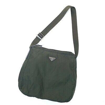 Prada Vintage Large Crossbody Messenger Bag Green Nylon Tessuto Authentic