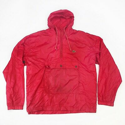 Vtg IZOD Lacoste Mens Sz XL Nylon Anorak Windbreaker Jacket 1/2 Zip Pullover RED