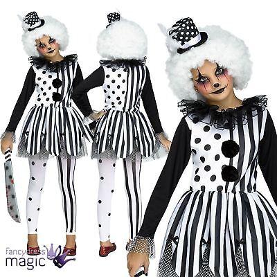 Girls Halloween Scary Evil Killer Harlequin Clown Jester Fancy Dress Costume Hat
