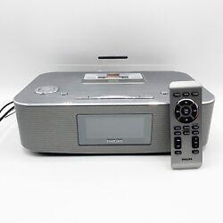 Philips Radio Alarm Clock Speaker Remote Docking System iPod/iPad 30 Pin DC291
