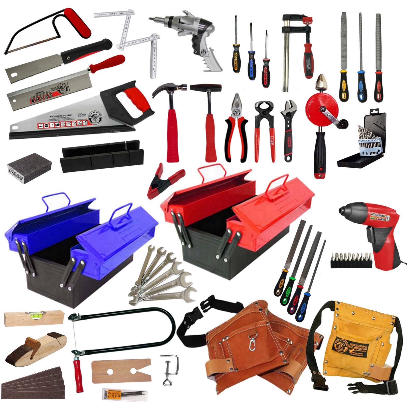 echtes Kinder Werkzeug Werkzeuggürtel Werkzeugkasten Akkuschrauber Säge Hammer