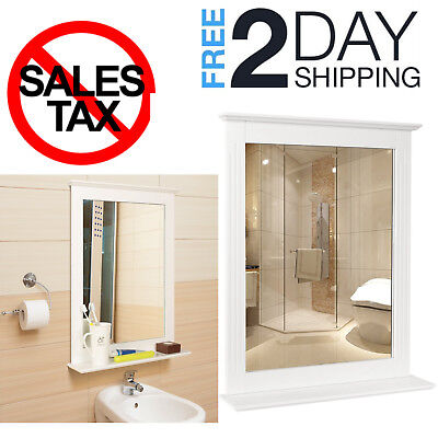 Wall Bathroom Mirror Vanity Framed With Shelf Home Mirrors Elegant Large White