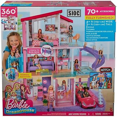 Barbie Dreamhouse Dollhouse with Wheelchair Elevator, Pool, & 70 Accessories