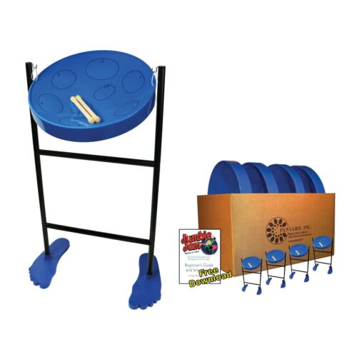 Jumbie Jam Steel Drum Educators 4-Pack – Tube Floor Stands - Blue Pans (G)