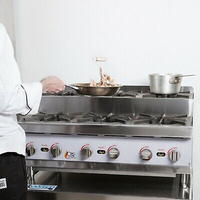 36 Natural Gas Step-up Countertop Range Hot Plate With 6 High Output Burners