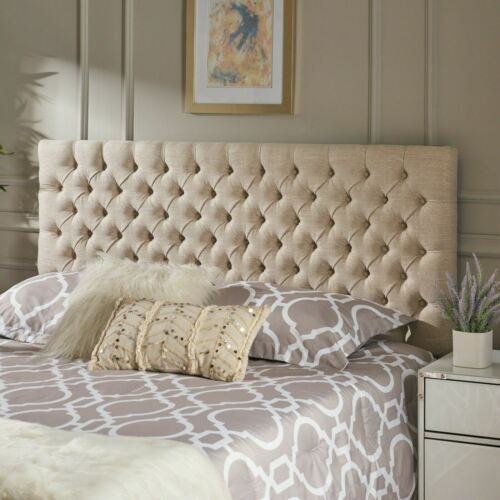 Wyoming Contemporary Button Tufted Light Beige Fabric Queen/Full Headboard Beds & Mattresses