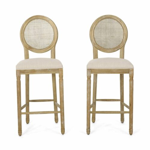 Salton French Country Wooden Barstools with Upholstered Seating (Set of 2) Benches, Stools & Bar Stools