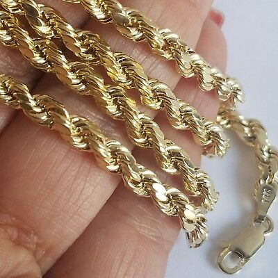 Long 4mm Rope (14k yellow gold rope chain 22 inches long 4 mm)