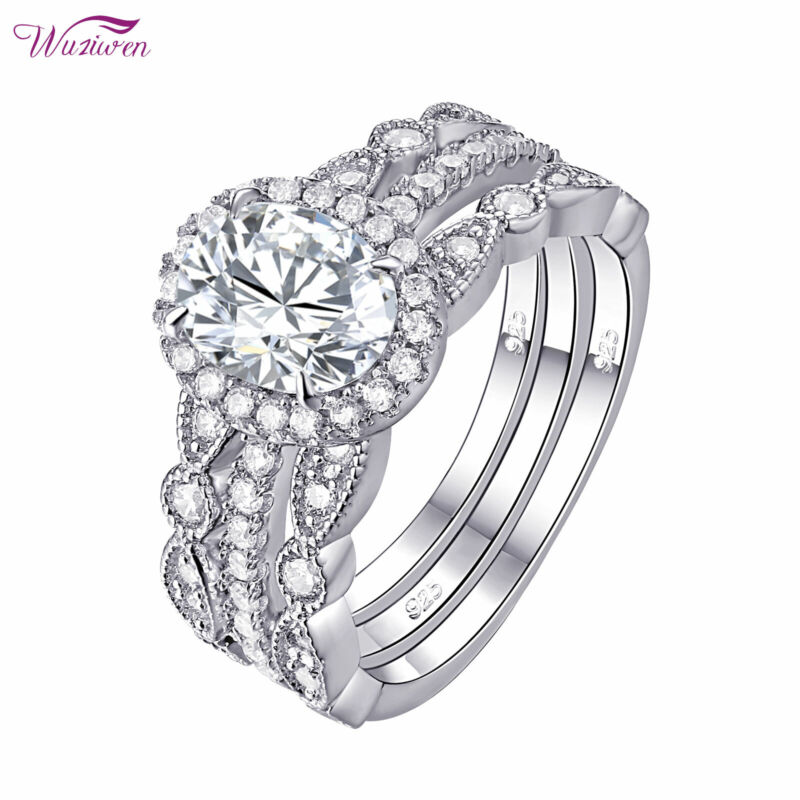 Wuziwen Engagement Wedding Ring 3pcs Sets For Women 2ct Oval Cz Sterling Silver
