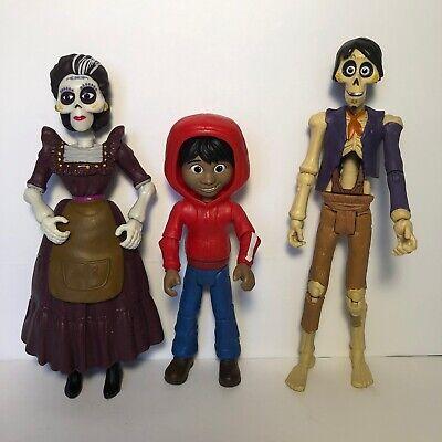 Disney Pixar COCO Miguel Hector Mama Imelda Action Figures  Lit Of 3 Face Change