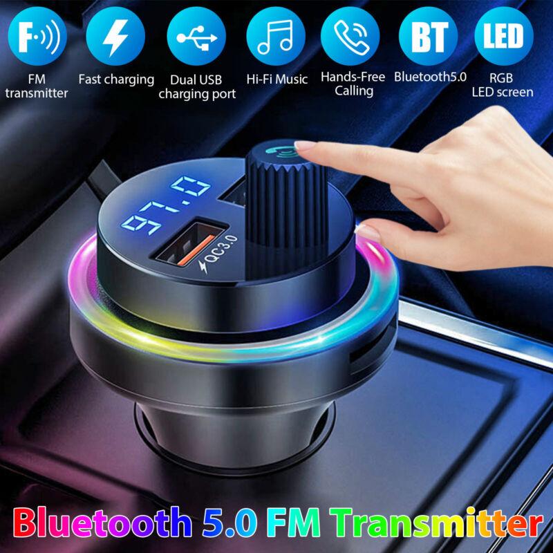 Wireless Bluetooth 5.0 Car FM Transmitter Music AUX Radio USB Charging Colorful