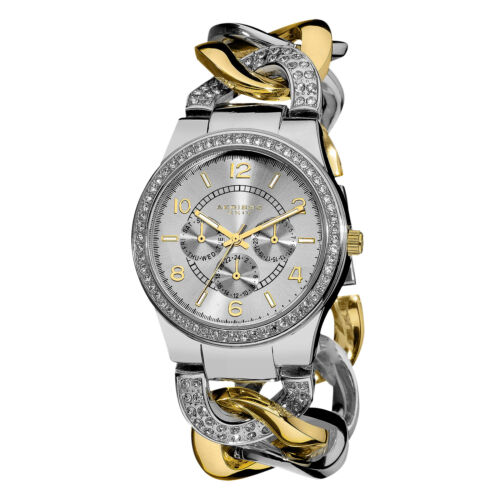 Women\s Akribos XXIV AK558TTG Multifunction Crystal Accented Twist Chain Watch