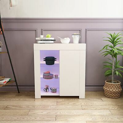 Modern High Gloss Sideboard Cabinet Storage Cupboard Display RGB LED Lights
