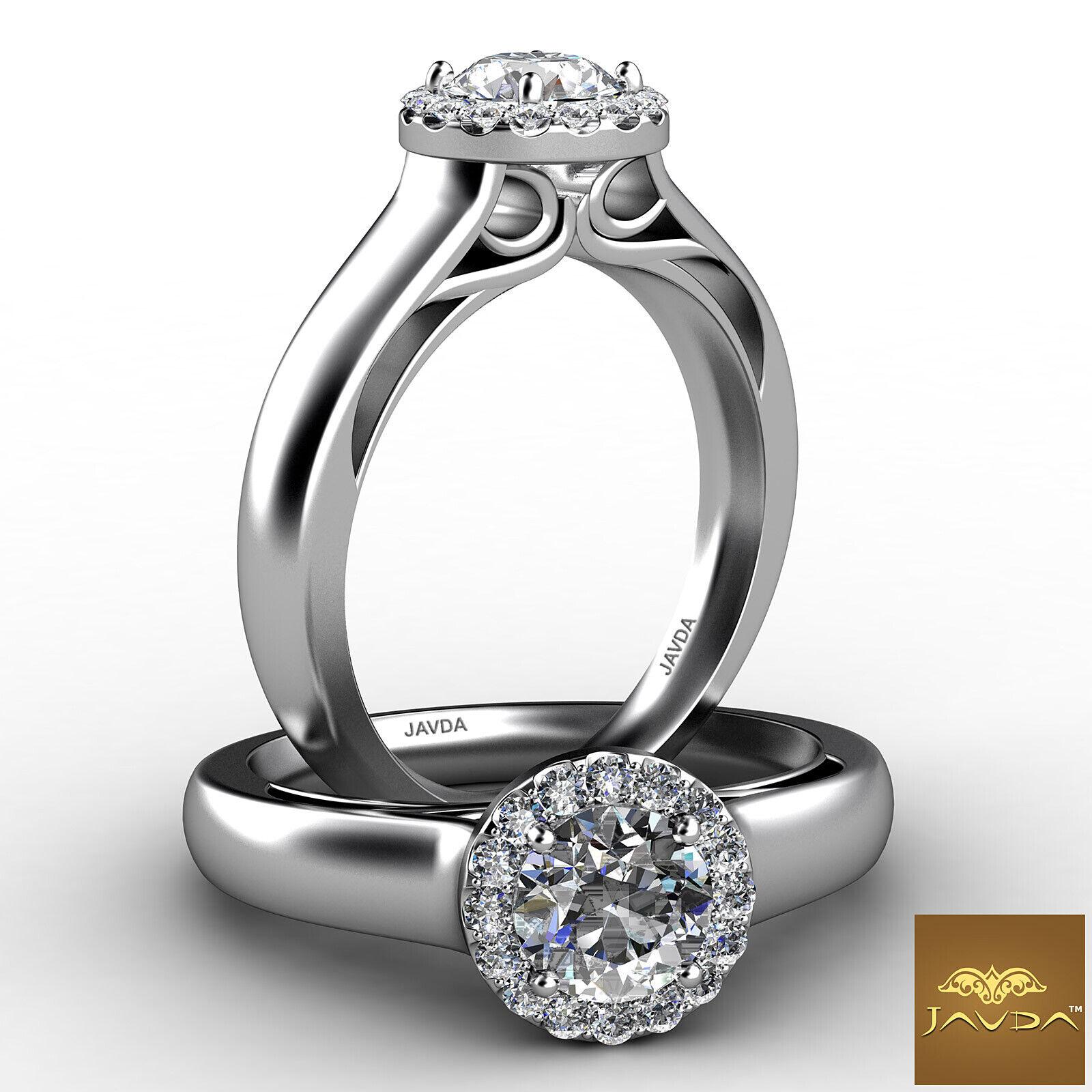 Elegant Round Cut Diamond Engagement Halo Pave Ring GIA F VVS2 Platinum 0.91ct