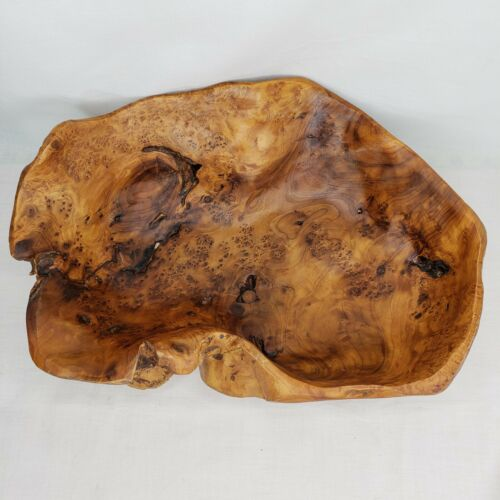Burl Wood Carved Bowl Knobby Large Unique Marked NCO