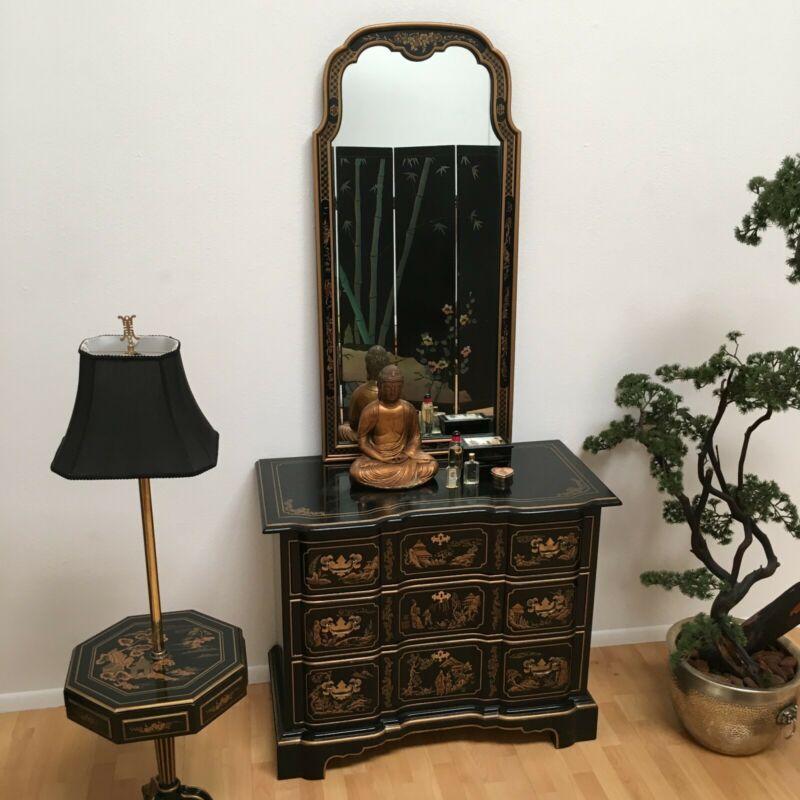 Drexel Et Cetera Asian Chinoiserie Black Lacquer 3-Drawer Chest/Dresser