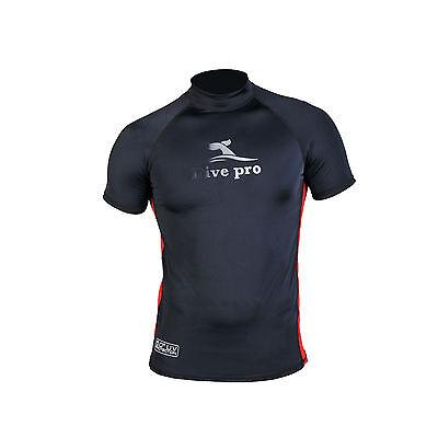 Uv Rash Shirt (DivePro Rash Guard UV Shirt - Herren Lycra Kurzarm schwarz-rot)