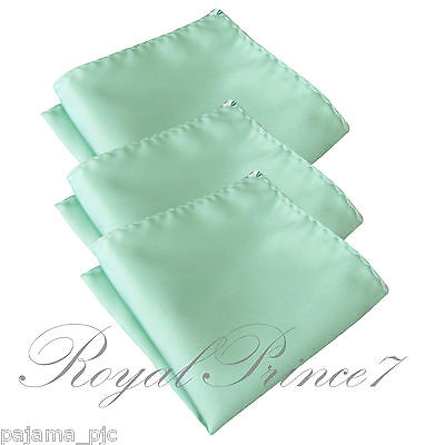 3 x Pastel Mint Green Solid Hankie Hankerchief Pocket Square Hanky Wedding 100V