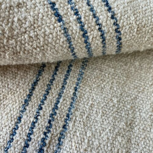 Indigo blue Organic fabric hemp Antique French Grainsack Linen