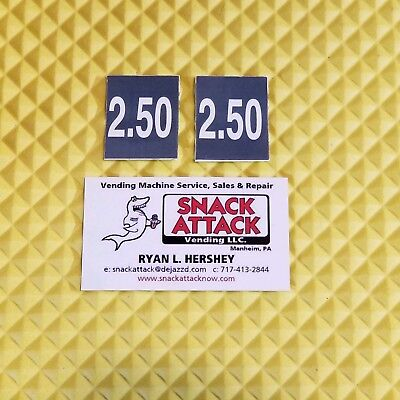 2 Soda Vending Machine 2.50 Vend Label Price Stickers Free Ship