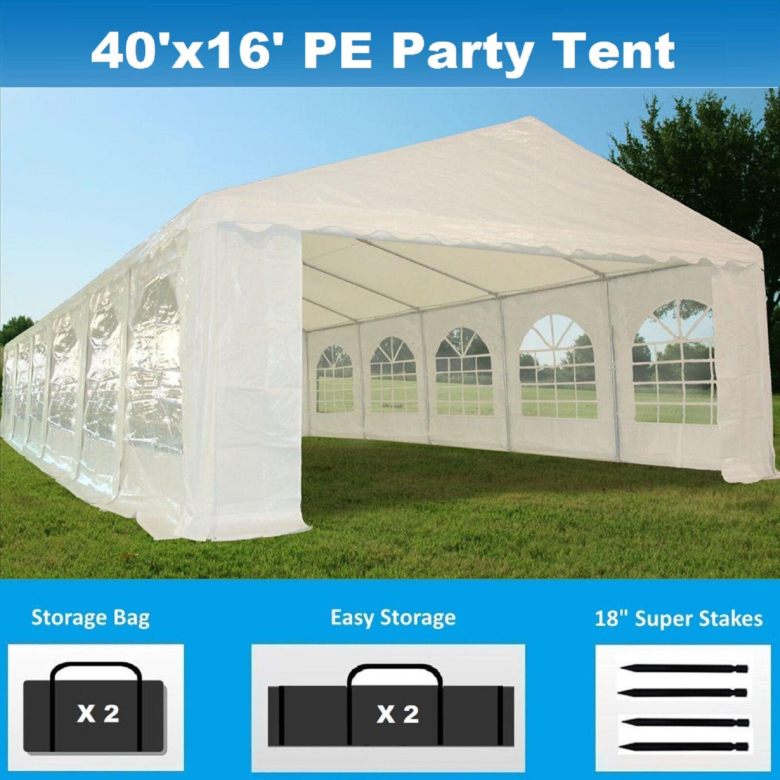 40' x 16' PE Party Tent - Heavy Duty Carport Canopy Wedding