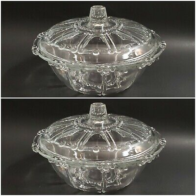 Pair Kig Indonesia Glass Beaded Lidded Candy Dish Bowl Oyster Pearl