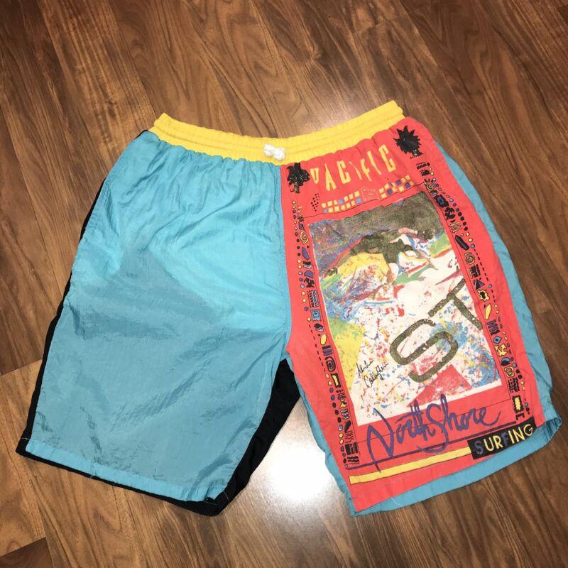 Vtg 80s 90s Vingar NORTH SHORE Mens MEDIUM Surf NYLON Jams Swim TRUNKS shorts