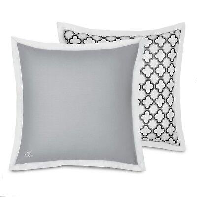 JILL ROSENWALD European Pillow Sham, QUATREFOIL, Reversible, Gray & White, NEW